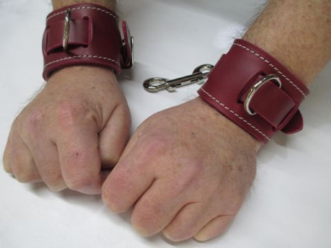 Pair of Heavy Duty Oxblood Leather, Chianti Suede Lined Restraint Cuffs  (2 Cuffs)